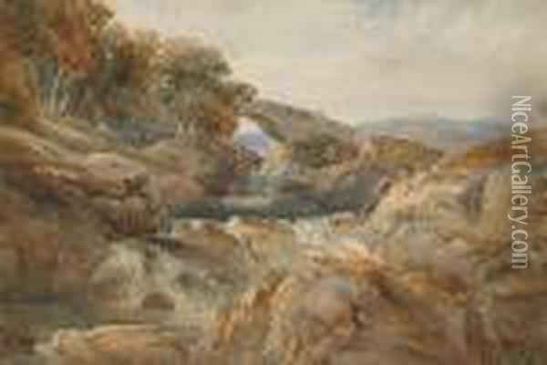 The Bridge Over The River Llugwy At Bettws-y-coed, North Wales Oil Painting - David Cox