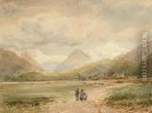 Figures With A Goat In A Rural Landscape Oil Painting - David Cox