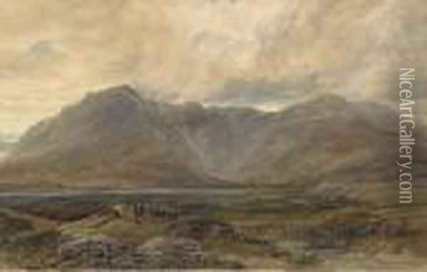 Peat Cutters In A Mountainous Landscape Oil Painting - David Cox
