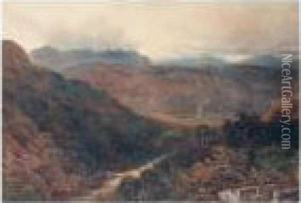 Clouds Gathering In The Mountains Oil Painting - David Cox