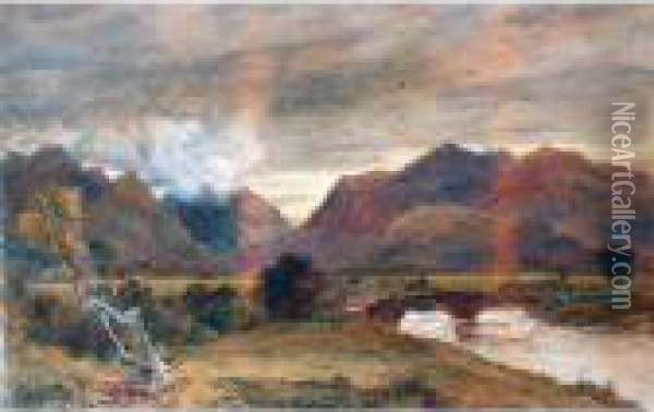 Bridge Over A Ford Oil Painting - David Cox