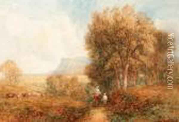 Figures And A Horse In An  Extensive Landscape With A View Of Achurch Beyond; And Figures On A Lane  With Cattle Grazingbeyond Oil Painting - David Cox