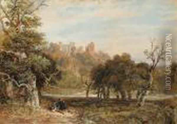 Hardwick Park, Derbyshire Oil Painting - David Cox