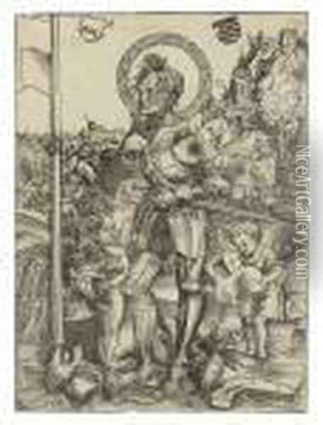 Saint George Standing, With Two Angels Oil Painting - Lucas The Elder Cranach