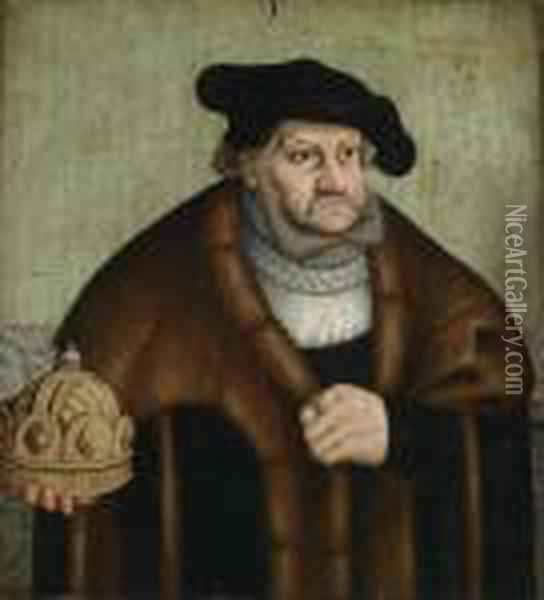 Prince Elector Frederick The Wise Of Saxonyholding The Imperial Crown Oil Painting - Lucas The Elder Cranach
