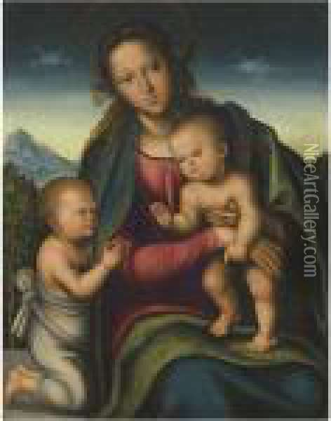 The Virgin And Child With The Infant Saint John Oil Painting - Lucas The Elder Cranach