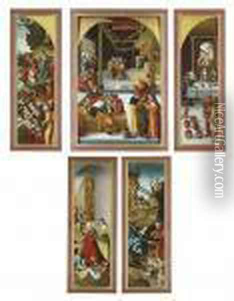 A Triptych: The Central Panel:  Christ Among The Doctors; The Wings: The Multiplication Of The Loaves  And Fishes; And The Marriage At Cana; The Outer Faces: Saint Elizabeth  Of Thuringia Giving Alms; And The Nativity Oil Painting - Lucas The Elder Cranach
