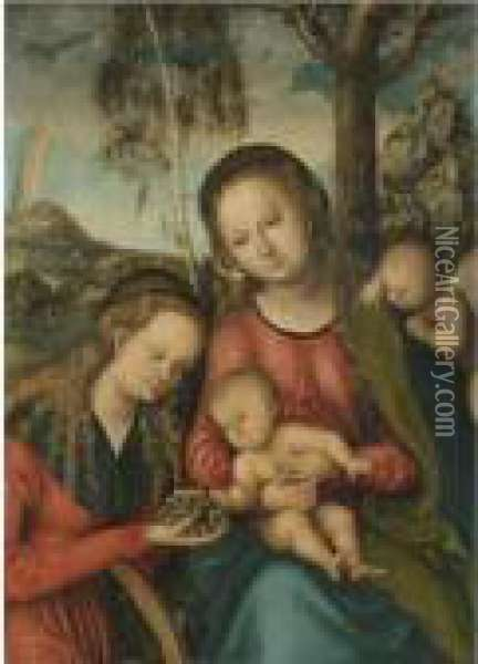 The Virgin And Child With Saint  Catherine Holding A Bunch Of Grapes, A Winged Cherub Behind Oil Painting - Lucas The Elder Cranach