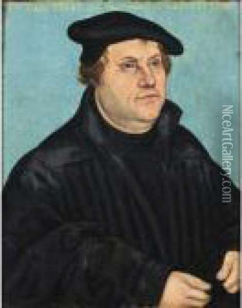A Portrait Of Martin Luther (1483-1546) Oil Painting - Lucas The Elder Cranach