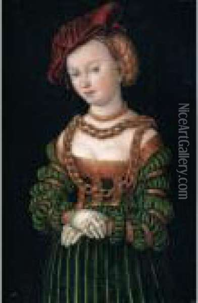 Portrait Of A Young Woman,  Three-quarter Length, As A Court Beauty, Wearing A Red Cap And A Green  Dress Trimmed With Gold, Her Decolletage Bedecked With Gold Chains Oil Painting - Lucas The Elder Cranach
