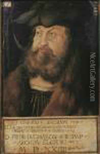 Portrait Of Frederick The Wise,  Elector Of Saxony, Small Half-length, In A Black Costume With A White  Collar, A Fur Coat And A Black Hat Oil Painting - Lucas The Elder Cranach