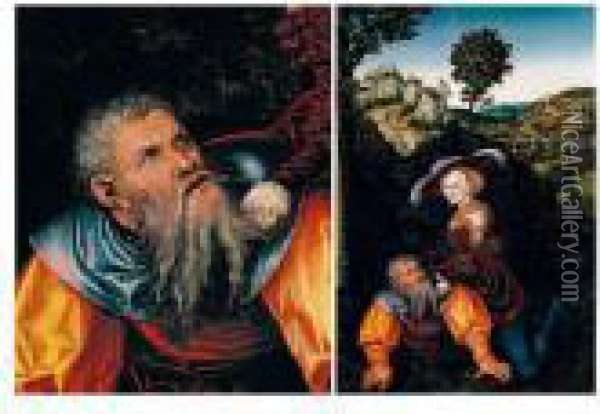 Phyllis And Aristotle Oil Painting - Lucas The Elder Cranach