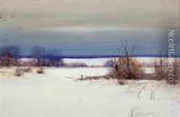 A Winter's Day Oil Painting - Bruce Crane