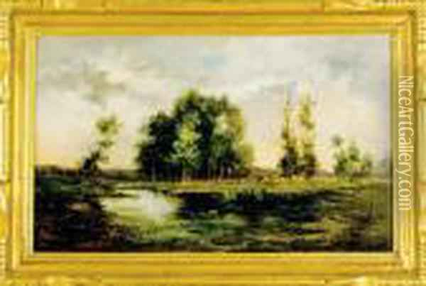 Pond In Landscape Oil Painting - Bruce Crane