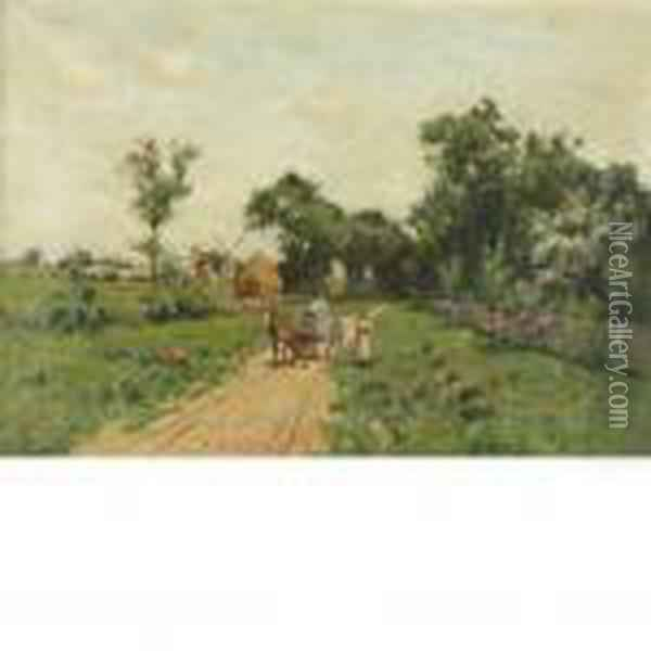 Along Egypt Lane, East Hampton Oil Painting - Bruce Crane