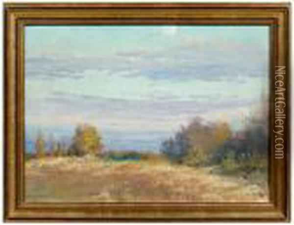 Landscape With Full Moon Oil Painting - Bruce Crane