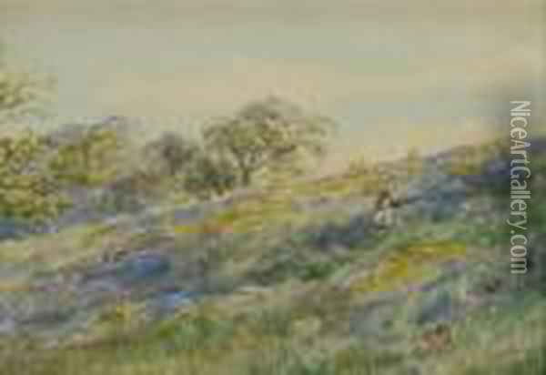 Floral Meadow Oil Painting - Bruce Crane