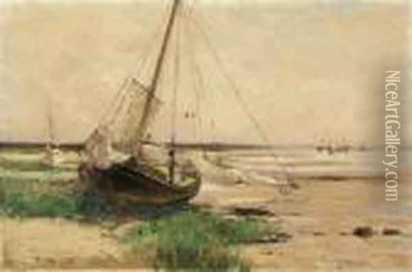 American, - Beached Ship Oil Painting - Bruce Crane