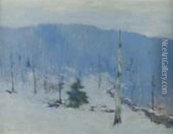 American, - Winter Silence Oil Painting - Bruce Crane