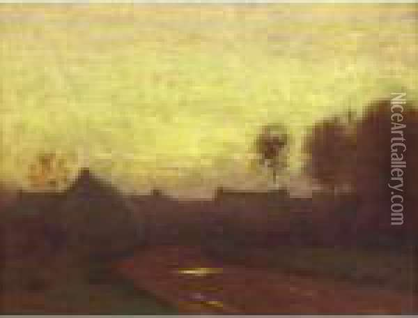 The Twilight Hour (edge Of The Village) Oil Painting - Bruce Crane