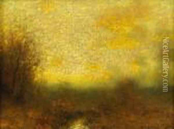 Russet And Gold Oil Painting - Bruce Crane