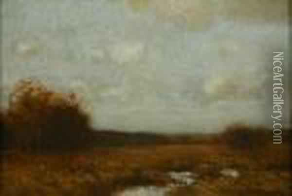 The Edge Of A Wood, Autumn Oil Painting - Bruce Crane