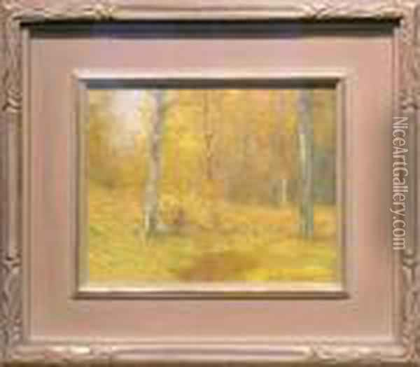Woods Of Gold Oil Painting - Bruce Crane