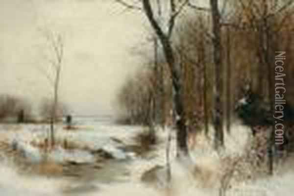 ''a Winter Morning'' Oil Painting - Bruce Crane