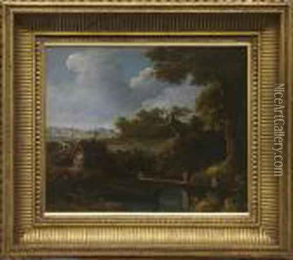 Figures On A Bridge Beside A River With Cottage Beyond Oil Painting - John Crome