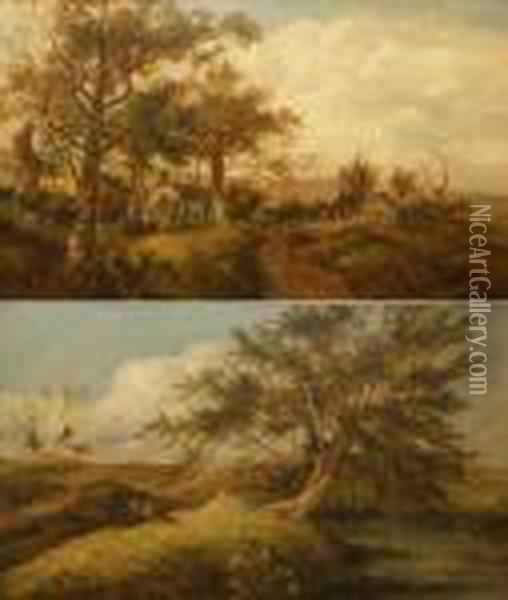 Country Landscapes With Figures And Cottages Oil Painting - John Crome