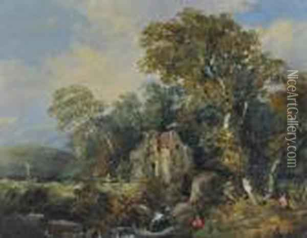 Figures Near An Old Watermill Oil Painting - John Crome