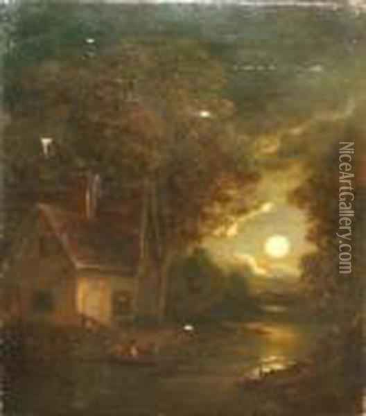 Moonlit River Landscape With Figures In A Boat By Cottage Oil Painting - John Crome
