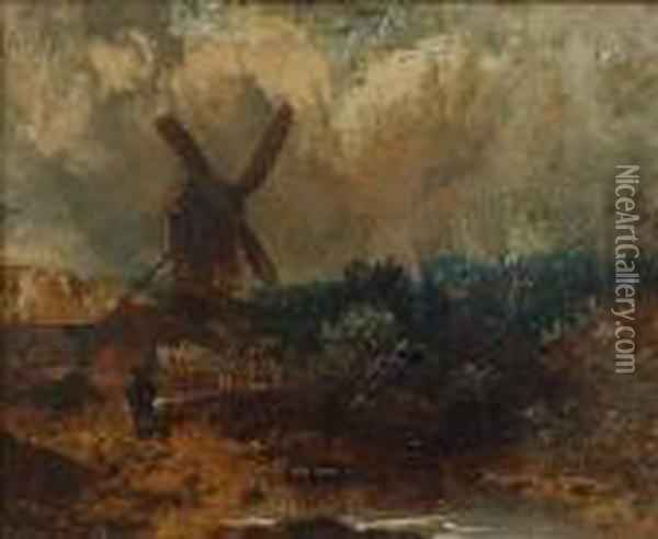 Norwich Landscape With Windmill Oil Painting - John Crome