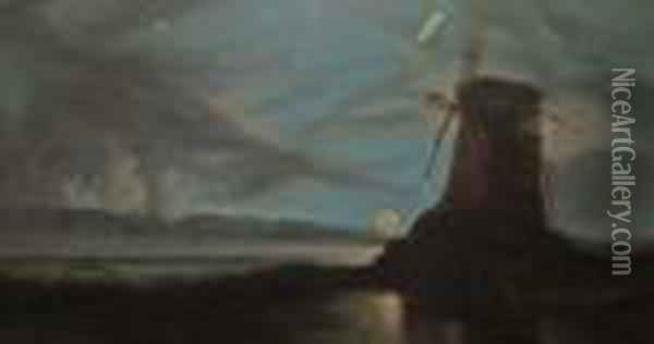 Amill By Moonlight Oil Painting - John Crome