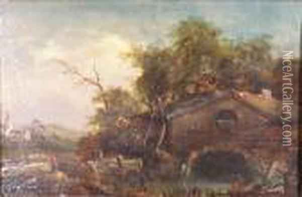 A Watermill In A Wooded Landscape Oil Painting - John Crome