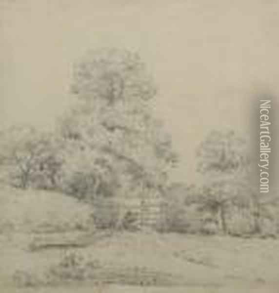 Figures By A Gate With Woodland;  Pencil, 27x25cm. Provenance: With The Squire Gallery, London According  To Label Attached To The Reverse Oil Painting - John Crome
