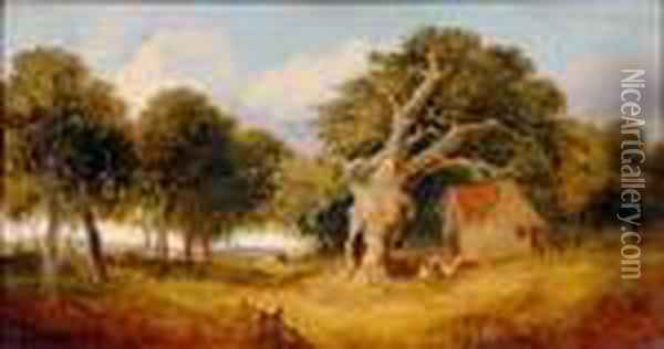 Wooded Landscape With Figures By A Cottage And An Old Oak Tree Oil Painting - John Crome