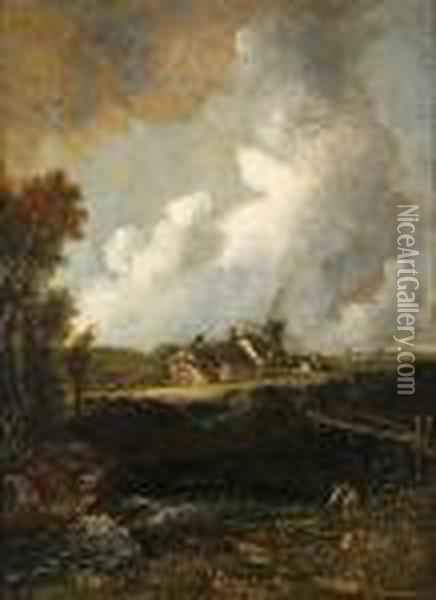 Landscape With Windmill Oil Painting - John Crome