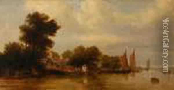 Boats On The River By A Thatched Cottage Oil Painting - John Crome