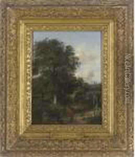 A Wooded Landscape With An Oak Oil Painting - John Crome