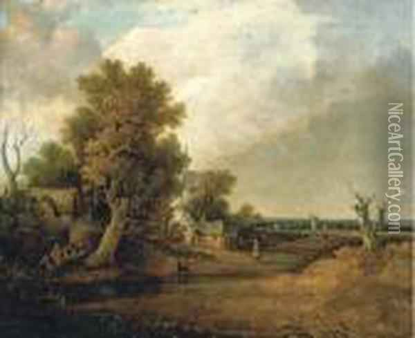 A Wooded Landscape With Cottages By A River And A Windmillbeyond Oil Painting - John Crome