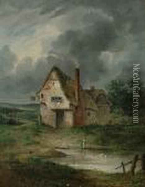 A Country Inn. Oil Painting - John Crome