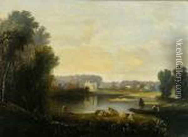 Pastoral Scene With Figures And Sheep By A Lake Oil Painting - John Crome