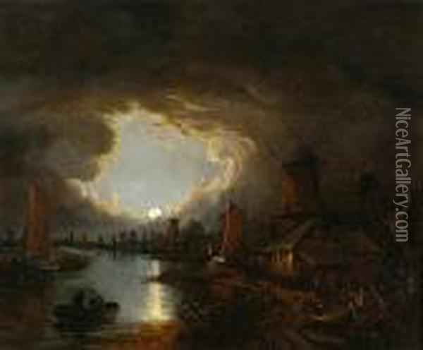 Boats And Windmills At Moonlight Oil Painting - John Crome