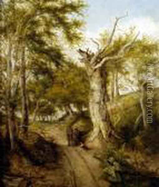 A Summer Landscape, With Figures And Dog Resting On A Woodland Path Oil Painting - John Crome