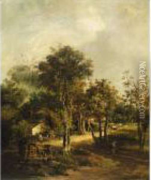 A Wooded Landscape With Cottagers On A Path In The Foreground Oil Painting - John Crome