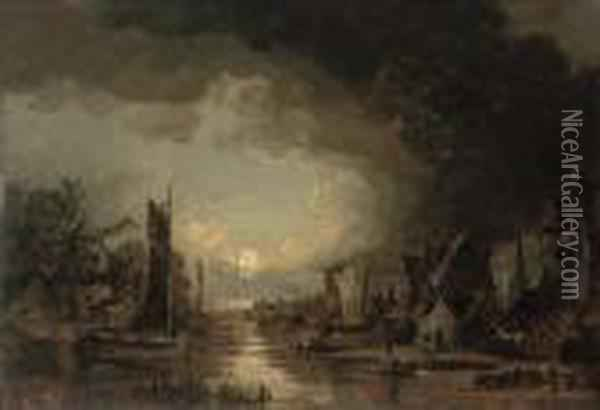 A Moonlit River Oil Painting - John Crome
