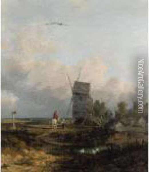Figures By A Windmill Oil Painting - John Crome