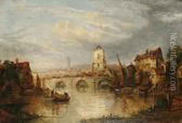 View Of A Town From The River Oil Painting - John Crome