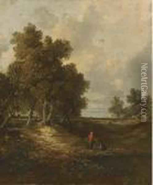 A Wooded Landscape With Faggot Gatherers Oil Painting - John Crome